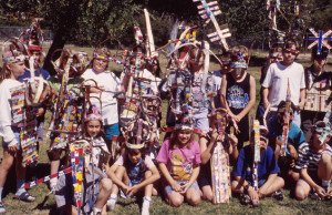 Students sporting their headdresses after completing the Corrugated Headgear workshop.